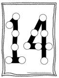 "Numbers Do a Dot number ""14"". Printable preschool daycare worksheet."