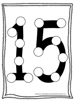 "Numbers Do a Dot number ""15"". Printable preschool daycare worksheet."