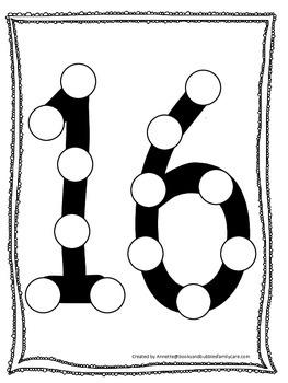 "Numbers Do a Dot number ""16"". Printable preschool daycare worksheet."