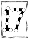 "Numbers Do a Dot number ""17"". Printable preschool daycare worksheet."