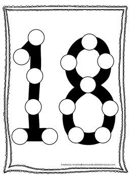 "Numbers Do a Dot number ""18"". Printable preschool daycare worksheet."