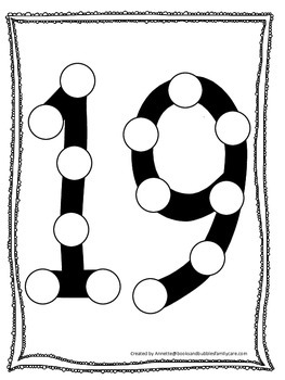 "Numbers Do a Dot number ""19"". Printable preschool daycare worksheet."