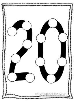 "Numbers Do a Dot number ""20"". Printable preschool daycare worksheet."
