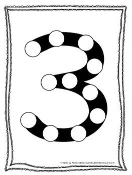 "Numbers Do a Dot number ""3"". Printable preschool daycare worksheet."