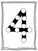 "Numbers Do a Dot number ""4"". Printable preschool daycare worksheet."
