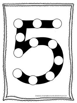 "Numbers Do a Dot number ""5"". Printable preschool daycare worksheet."