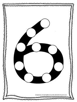 "Numbers Do a Dot number ""6"". Printable preschool daycare worksheet."