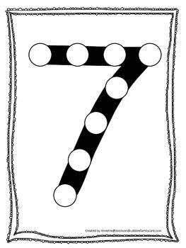 "Numbers Do a Dot number ""7"". Printable preschool daycare worksheet."