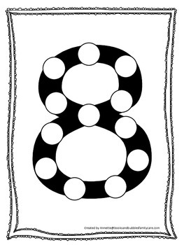 "Numbers Do a Dot number ""8"". Printable preschool daycare worksheet."