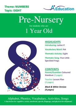Numbers - Eight : Letter P : Pat - Pre-Nursery (1 year old)