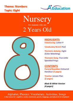 Numbers - Eight : Letter P : Peel - Nursery (2 years old)