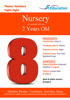 Numbers - Eight : Letter P : Please - Nursery (2 years old)