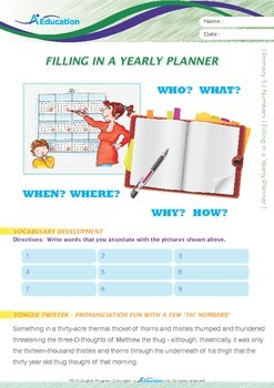 Numbers - Filling in a Yearly Planner - Grade 5