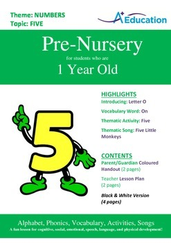 Numbers - Five : Letter O : On - Pre-Nursery (1 year old)
