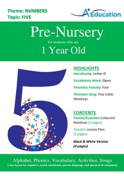 Numbers - Five : Letter O : Open - Pre-Nursery (1 year old)