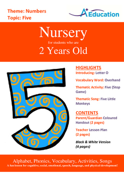 Numbers - Five : Letter O : Overhand - Nursery (2 years old)