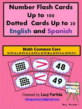 Comparing Numbers 1-100 Subitinzing Flash Cards English and Spanish