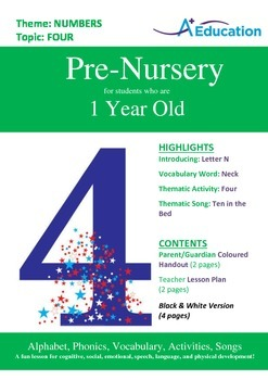 Numbers - Four : Letter N : Neck - Pre-Nursery (1 year old)