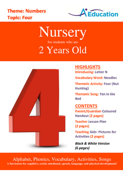 Numbers - Four : Letter N : Noodles - Nursery (2 years old)