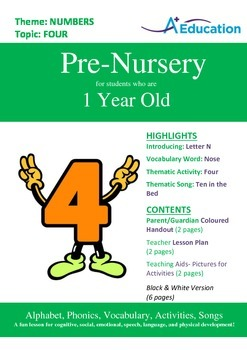 Numbers - Four : Letter N : Nose - Pre-Nursery (1 year old)