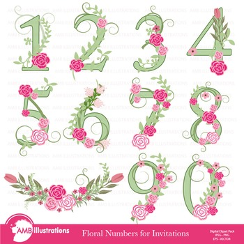 Numbers In Green Floral Theme Clipart, AMB-870