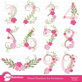 Numbers In Pink Floral Theme Clipart, AMB-869