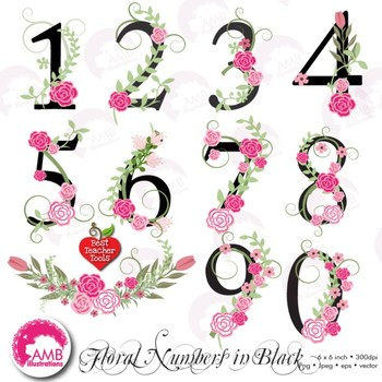 Numbers In Pink Floral Theme Clipart black numbers, AMB-868
