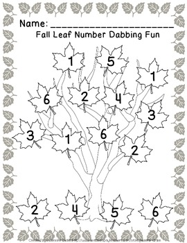 Numbers In The Leaves! ~Fall Math Center Using Dot Painters!~  CC Aligned