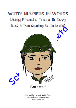 Numbers In Words Using French: Trace & Copy (1-49 & Then Counting By 10s to 100)