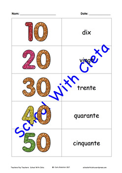 Numbers In Words Using French Flash Cards (1-49 & Then Counting By 10s to 100)