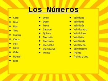 Numbers Lesson for Spanish 1