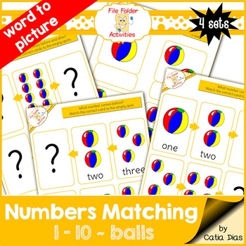 Numbers Matching 1-10 - balls FILE FOLDER ACTIVITIES