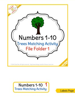 Numbers Matching 1-10 - trees FILE FOLDER ACTIVITIES