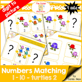 Numbers Matching 1-10 - turtles 2 FILE FOLDER ACTIVITIES