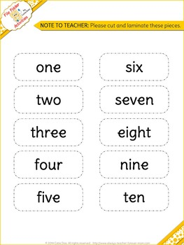 Numbers Matching 1-10 - turtles FILE FOLDER ACTIVITIES