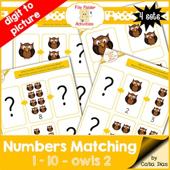Numbers Matching 1-10 - Owls2 FILE FOLDER ACTIVITIES