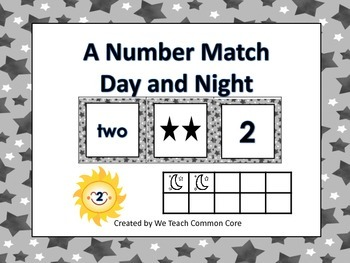 Numbers Matching Day and Night Themed Math Station Science Theme