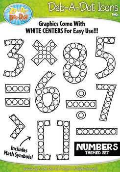 Numbers & Symbols Dab-A-Dot Markers Graphics Clipart {Zip-A-Dee-Doo-Dah Designs}