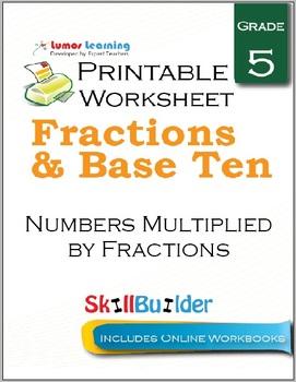 Numbers Multiplied by Fractions Printable Worksheet, Grade 5