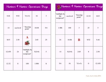 Numbers & Number Operations Review Bingo Game