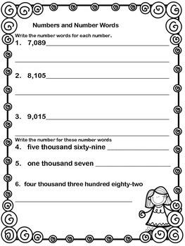 Numbers & Number Words Freebie