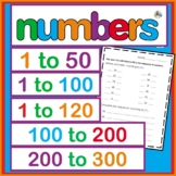 Numbers,bundle 1 to 50  100-200 1-120 AND 200-300