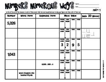 Numbers Numerous Ways - Forms of Numbers (FREE)