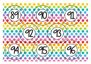 Numbers  /  Nummers  1 - 100  -  Polka  dots  multi
