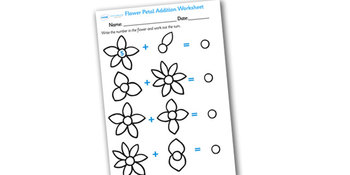 Numbers On Flowers Addition Worksheet