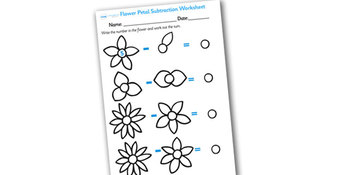Numbers On Flowers Subtraction Worksheet