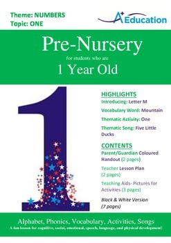 Numbers - One : Letter M : Mountain - Pre-Nursery (1 year old)