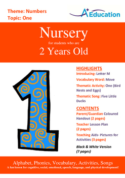 Numbers - One : Letter M : Move - Nursery (2 years old)