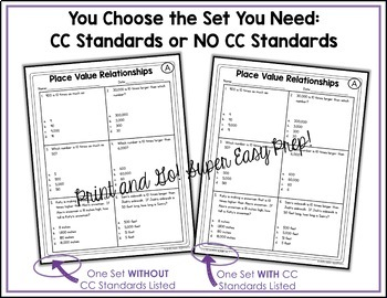 4th Grade Math Test Prep Review Numbers and Operations Bundle