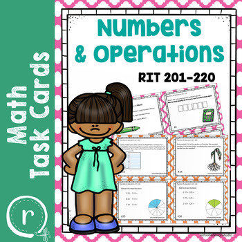 NWEA MAP Prep Math Practice Task Cards Numbers & Operations RIT Band 201-220